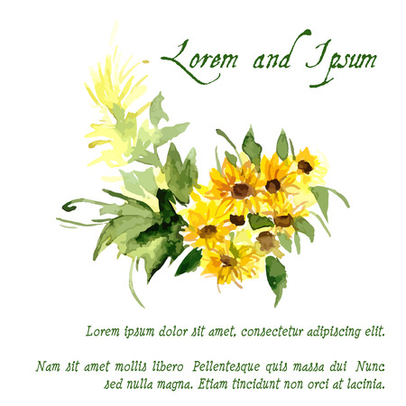 Composition of yellow sunflower painted in watercolor for your design Illustration