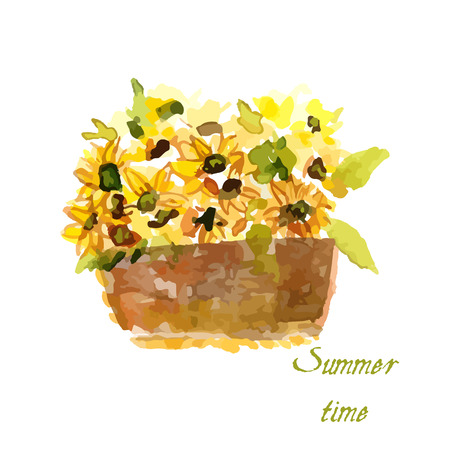Samenstelling van gele zonnebloem in waterverf voor uw ontwerp Stock Illustratie