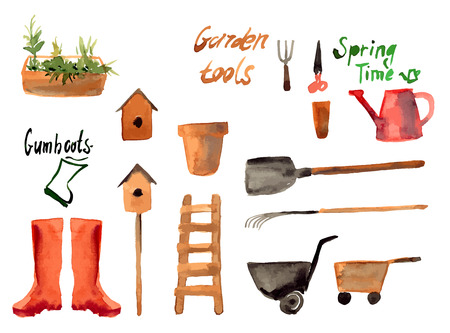 A set watercolor of gardening tool icons isolated on white background