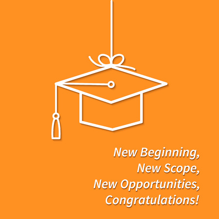 Greeting Card With Congratulations Graduate Completion of Studies Çizim