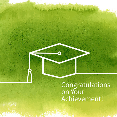 Greeting Card With Congratulations Graduate Completion of Studies Illustration