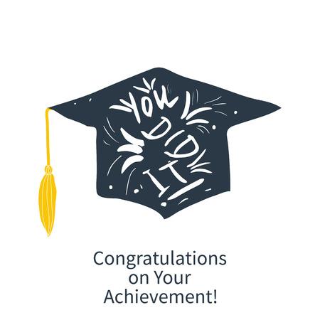 축하 졸업생 인사말 카드 연구 완료 일러스트