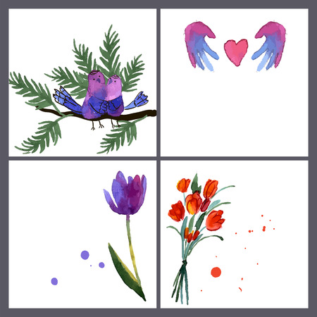 Painted bouquet tulips flowers on a white background vector illustration Vector