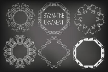 Byzantine Ornament Painted White Chalk on a Blackboard, Vector Illustration Illustration