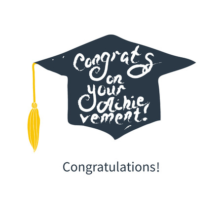lets party: Greeting Card With Congratulations Graduate Completion of Studies Illustration