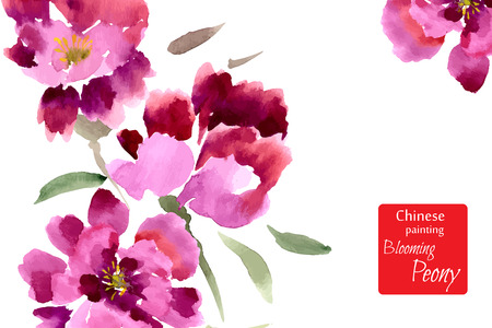 chinese: Peony, painted in gouache. Stylized Chinese painting. Vector illustration