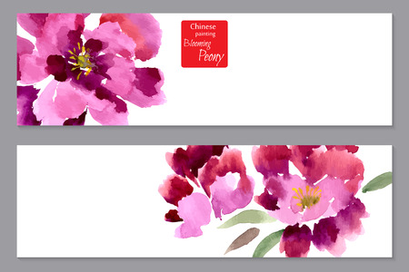 Peony, painted in gouache. Stylized Chinese painting. Vector illustration