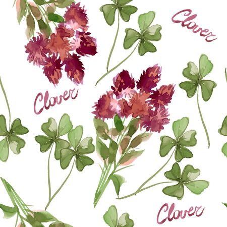 trifolium: Floral Pattern Clover Flowers (Trifolium Pratense) and Victorian Motifs. The Texture for the Web, Print, Wallpaper, Gift Wrapping, Home Decor, Spring, Summer, Fashion, Textile Design