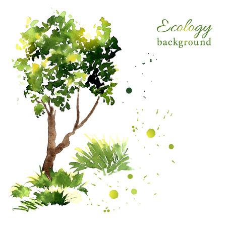 Vektor-Illustration von stilisierten Baum Sommer