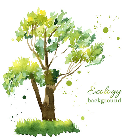 tree of life silhouette: Vector illustration of stylized summer tree