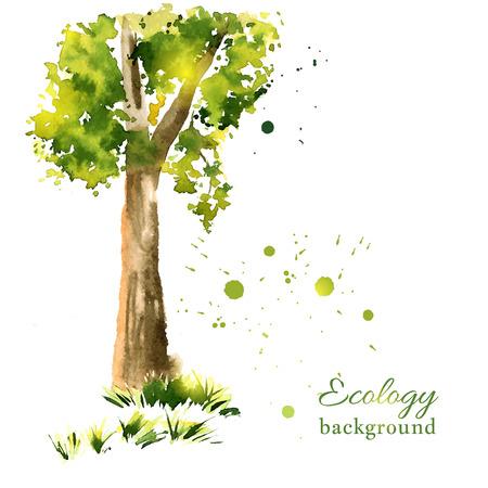 Vector illustration of stylized summer tree