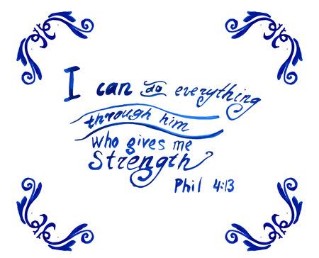 Ik kan alles door Hem die mij kracht geeft, Citaat van de Bijbel aquarel doen Stockfoto