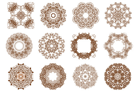 mehendi: Round mehndi henna patterns drawn doodle set mandalas.Circle lace ornament, ornamental round doily geometric collection. Indian traditional art of body decoration during the holidays. Illustration