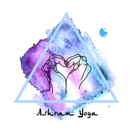 ashram: Element yoga mudra hands with mehndi patterns. Vector illustration for a yoga studio, tattoo, spas, postcards, souvenirs. Indian traditional lifestyle.