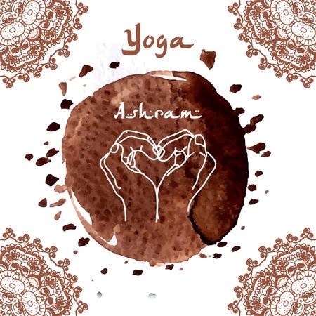 indian yoga: Elemento mani yoga mudra con modelli mehndi. Illustrazione vettoriale per un yoga studio, tatuaggio, terme, cartoline, souvenir. Stile di vita tradizionale indiana.