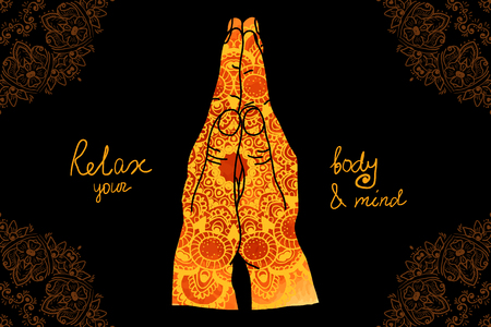 Element Yoga-Mudra Hände mit Mehndi Muster. Vektor-Illustration für ein Yoga-Studio, Tätowierung, Spas, Postkarten, Souvenirs. Indian traditionellen Lebensstil.