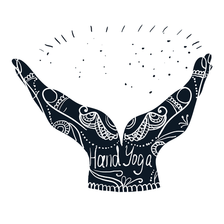 mehendi: Element yoga mudra hands with mehndi patterns. Vector illustration for a yoga studio, tattoo, spas, postcards, souvenirs. Indian traditional lifestyle.