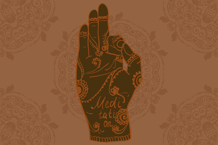 mind body soul: Element yoga mudra hands with mehndi patterns. Vector illustration for a yoga studio, tattoo, spas, postcards, souvenirs. Indian traditional lifestyle.