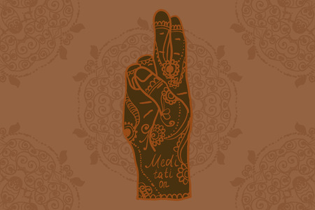 Element yoga mudra hands with mehndi patterns. Vector illustration for a yoga studio, tattoo, spas, postcards, souvenirs. Indian traditional lifestyle.