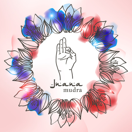mehendi: Element yoga jnana mudra hands with mehendi patterns. Vector illustration for a yoga studio, tattoo, spa, postcards, souvenirs.