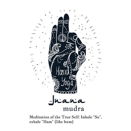 ashram: Element yoga jnana mudra hands with mehendi patterns. Vector illustration for a yoga studio, tattoo, spa, postcards, souvenirs.