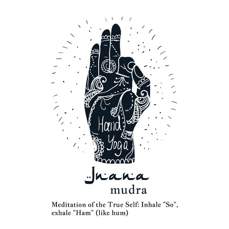 Element Yoga Jnana Mudra Hands With Mehendi Patterns Vector Illustration For A Studio