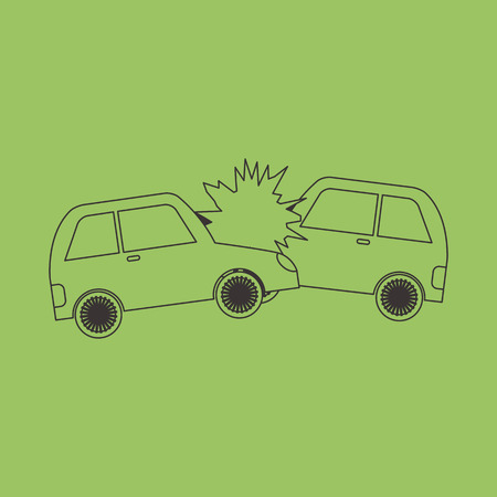 Accident two cars  design icon. Vector Illustration