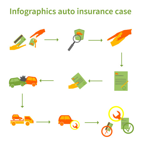 plastic card: Infographics auto insurance case: accident two cars, insurance cars, plastic card, Car symbol, the conclusion of the insurance contract. Illustration