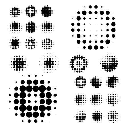 Reeks van abstracte halftone geïsoleerde cirkeltextuur voor uw ontwerp. Vector illustratie