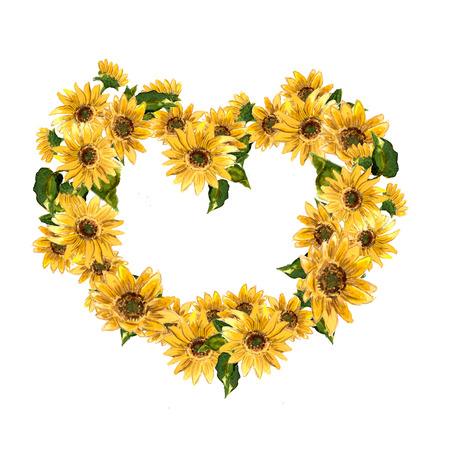 노란색 꽃 피는 패턴 해바라기 디자인을위한 수채화를 그렸다. 래스터 그림 스톡 콘텐츠