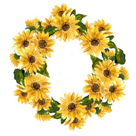 Het patroon van bloeiende gele bloemenzonnebloem die in waterverf voor uw ontwerp wordt geschilderd. Raster illustratie Stockfoto