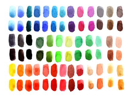 Kleurenpalet Bestaande uit Aquarel stalen in verschillende tinten. Stock Illustratie