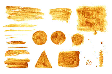 smears: Smears gold paint and texture objects, painted with watercolors isolated on white Illustration