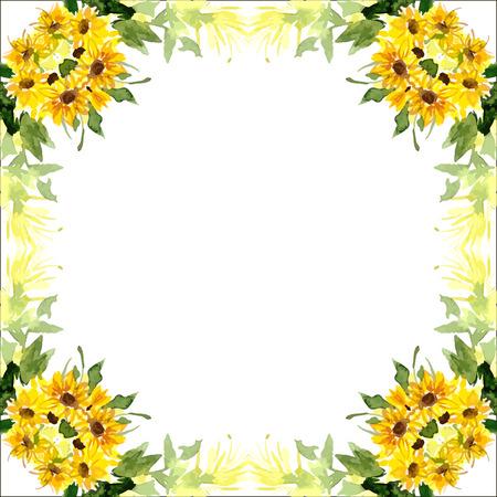 ひまわりの花を水彩のカード。カード、結婚式の招待状などに使用できます。