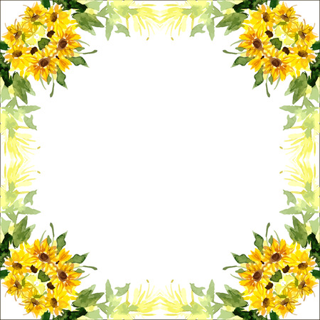 Watercolor card with flowers sunflower. Can be used for  cards, wedding invitations, etc.