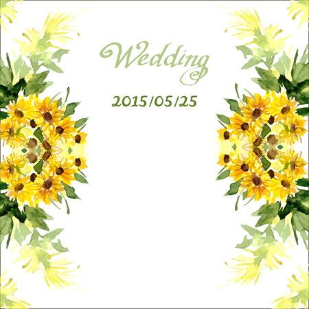 Waterverfkaart met bloemenzonnebloem. Kan worden gebruikt voor kaarten, huwelijksuitnodigingen, enz.