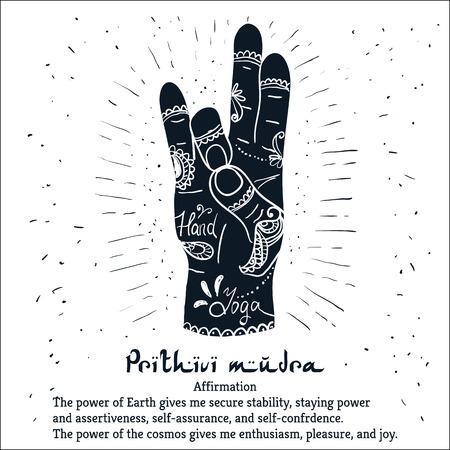 Elemento de yoga mudra Prithivi manos con patrones mehendi. ilustración para un estudio de yoga, tatuaje, spa, postales, recuerdos.