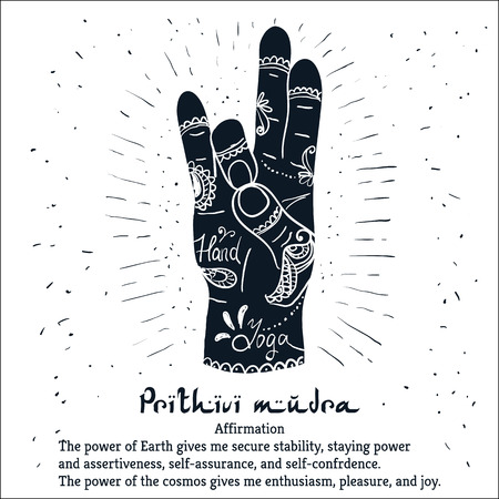 Mehendi 패턴 요소 요가을 Prithivi mudra에 손. 요가 스튜디오, 문신, 스파, 엽서, 기념품 그림입니다. 스톡 콘텐츠 - 43965277