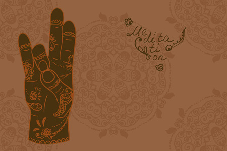 mudra: Element yoga Prithivi mudra hands with mehendi patterns.  illustration for a yoga studio, tattoo, spa, postcards, souvenirs. Illustration