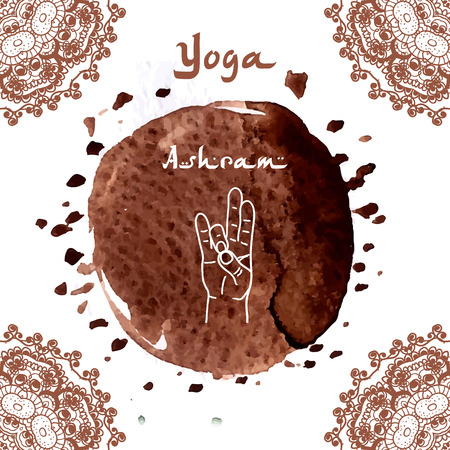 pranayama: Element yoga Prithivi mudra hands with mehendi patterns. illustration for a yoga studio, tattoo, spa, postcards, souvenirs.