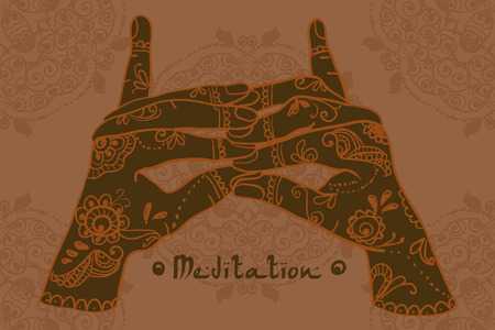 trap naar de hemel: Element yoga Stairway Heaven Temple mudra hands with mehendi patterns.  illustration for a yoga studio, tattoo, spa, postcards, souvenirs. Stock Illustratie