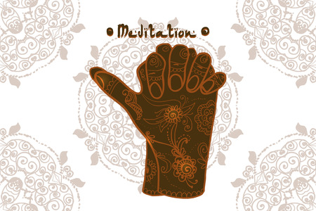 pranayama: Element yoga Turtle mudra hands with mehendi patterns. illustration for a yoga studio, tattoo, spa, postcards, souvenirs. Illustration