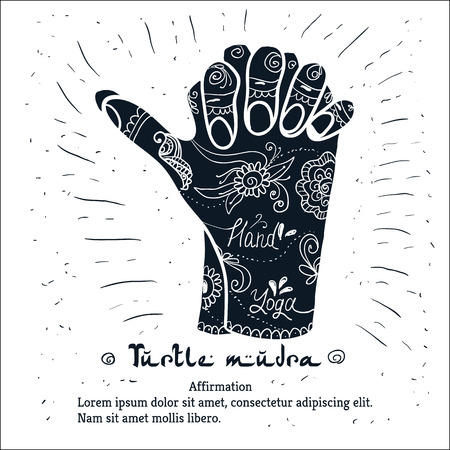 spiritual: Element yoga Turtle mudra hands with mehendi patterns. illustration for a yoga studio, tattoo, spa, postcards, souvenirs. Illustration