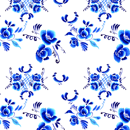 gzhel: Abstract  floral background, pattern with folk art flowers, blue white gzhel ornament. Can be used for banner, card, poster, invitation, label, menu, page decoration or web design Stock Photo