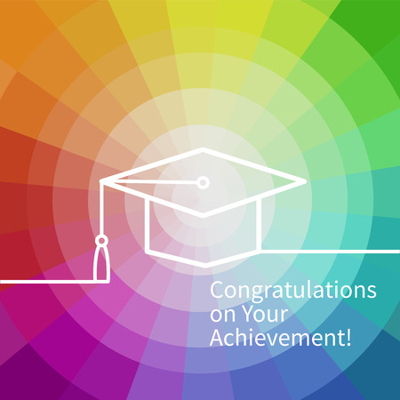 graduation ceremony: Greeting Card With Congratulations Graduate Completion of Studies Illustration