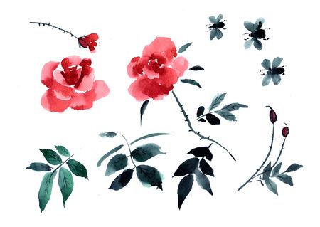 Groetkaart met bloemrozen die in waterverf worden geschilderd. Chinees en Japans schilderen sumi-e