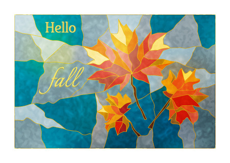 diagonals: Magic stained glass window with the image of a yellow-red autumn maple leaves on a blue background for your design