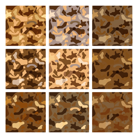 Seamless vector pattern set for military camouflage fabric.