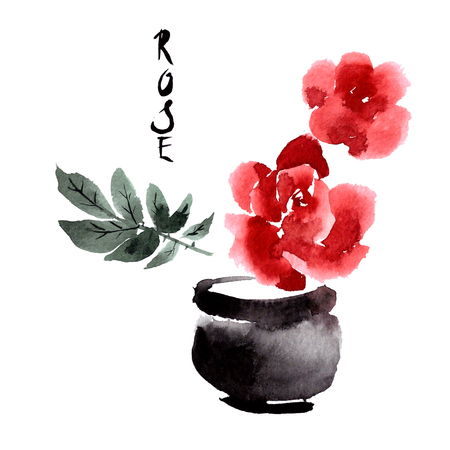 abstract rose: Greeting card with flower roses painted in watercolor. Chinese and Japanese painting sumi-e