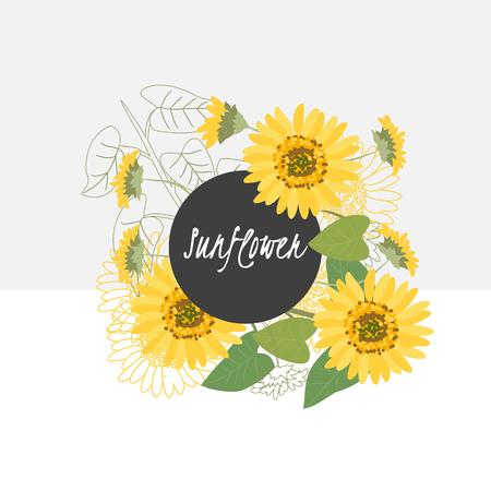 sunflowers: illustration sunflower flowerSpring sunflower flowerGreeting card sunflower flowerSummer composition sunflower flowerSpring sunflower flowerGarden sunflower flowerBeautiful sunflower flowerDelicate sunflower  flower